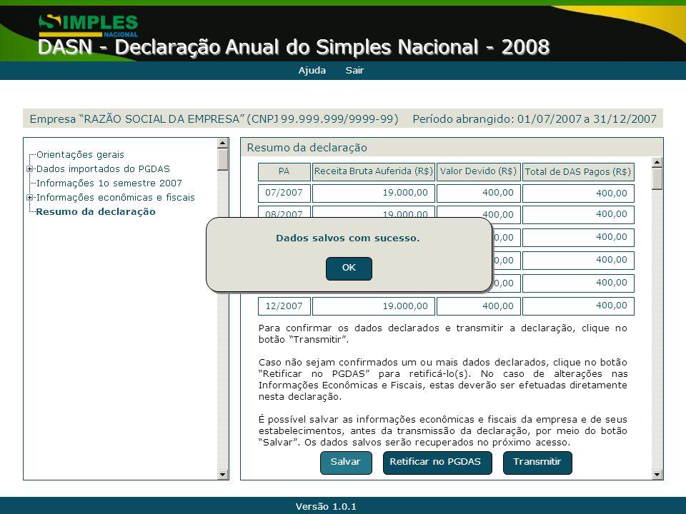 """Versão 1.0.1 DASN - Declaração Anual do Simples Nacional - 2008 Empresa """"RAZÃO SOCIAL DA EMPRESA"""" (CNPJ 99.999.999/9999-99) Resumo da declaração Retif"""