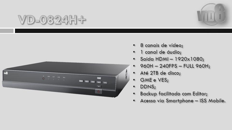 8 canais de vídeo; 1 canal de áudio; Saída HDMI – 1920x1080; 960H – 240FPS – FULL 960H; Até 2TB de disco; GME e VES; DDNS; Backup facilitado com Edito