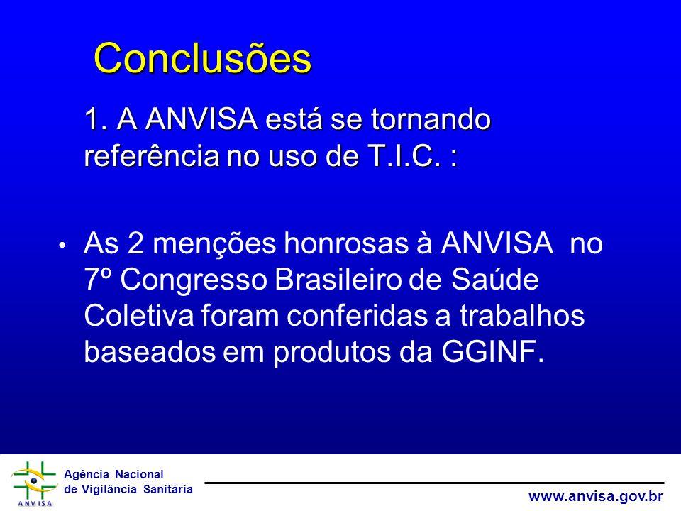 Agência Nacional de Vigilância Sanitária www.anvisa.gov.br Conclusões Conclusões 1. A ANVISA está se tornando referência no uso de T.I.C. : As 2 mençõ