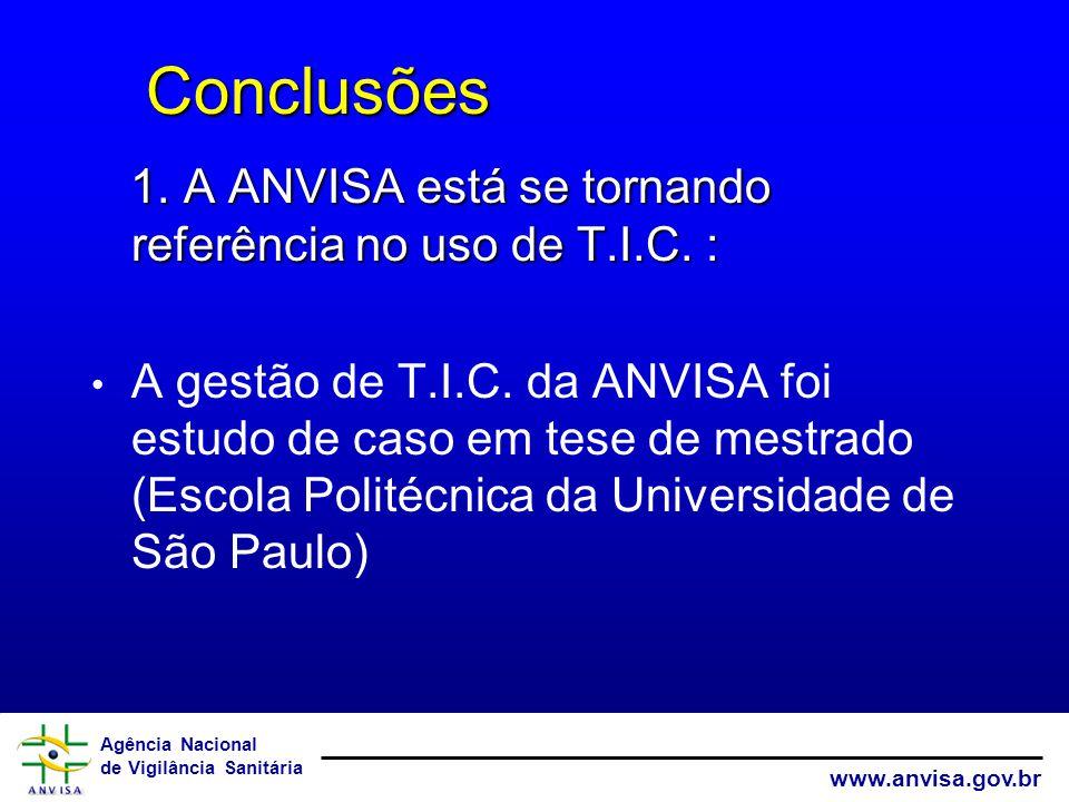 Agência Nacional de Vigilância Sanitária www.anvisa.gov.br Conclusões Conclusões 1. A ANVISA está se tornando referência no uso de T.I.C. : 1. A ANVIS