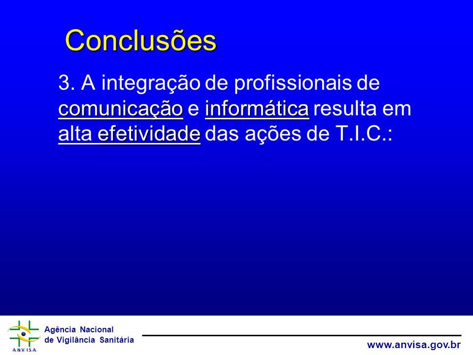 Agência Nacional de Vigilância Sanitária www.anvisa.gov.br Conclusões Conclusões comunicaçãoinformática efetividade 3.