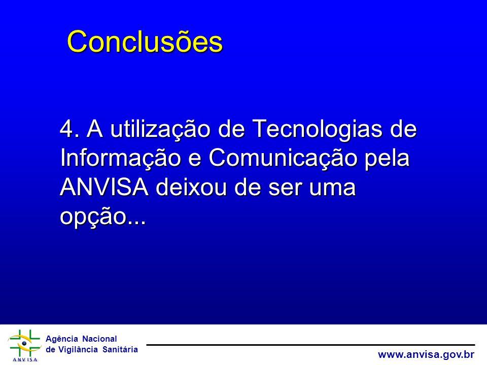Agência Nacional de Vigilância Sanitária www.anvisa.gov.br Conclusões Conclusões 4.