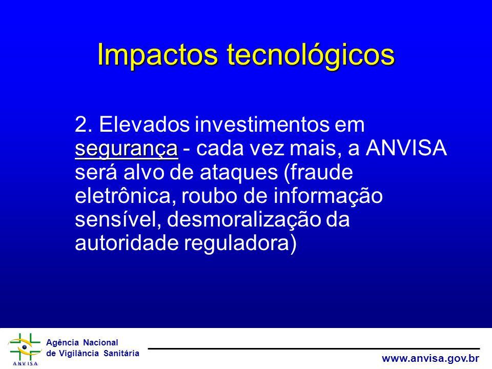 Agência Nacional de Vigilância Sanitária www.anvisa.gov.br Impactos tecnológicos segurança 2.