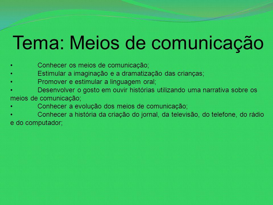 Tema: Meios de comunicação Conhecer os meios de comunicação; Estimular a imaginação e a dramatização das crianças; Promover e estimular a linguagem or