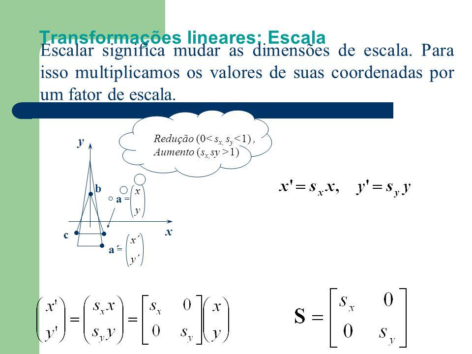 Transformações lineares: Translação x y a = x y c b x' y' Transladar significa movimentar o objeto. Transladamos um objeto transladando todos os seus