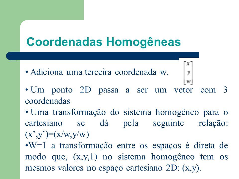 Coordenadas homogêneas Translação não é linear. Como representar em forma de matriz? x'=x+tx y'=y+ty z'=z+tz Solução: uso de coordenadas homogêneas