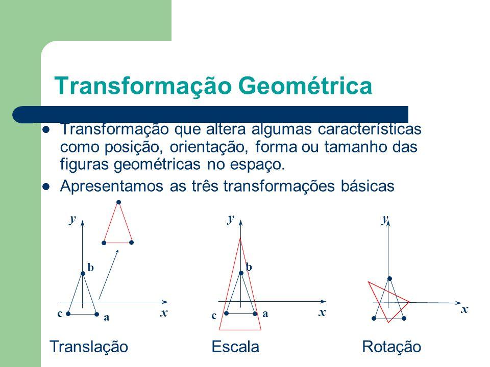 Tópicos Objetos disponíveis Transformação Geométrica Revisão sobre matrizes e vetores As três transformações geométricas básicas: Translação, Escala e