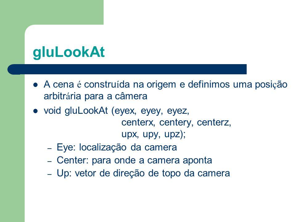 Usando gluLookAt gluLookAt(eyex, eyey, eyez, centerx, centery, centerz, upx, upy, upz) (a) Mudando a câmera