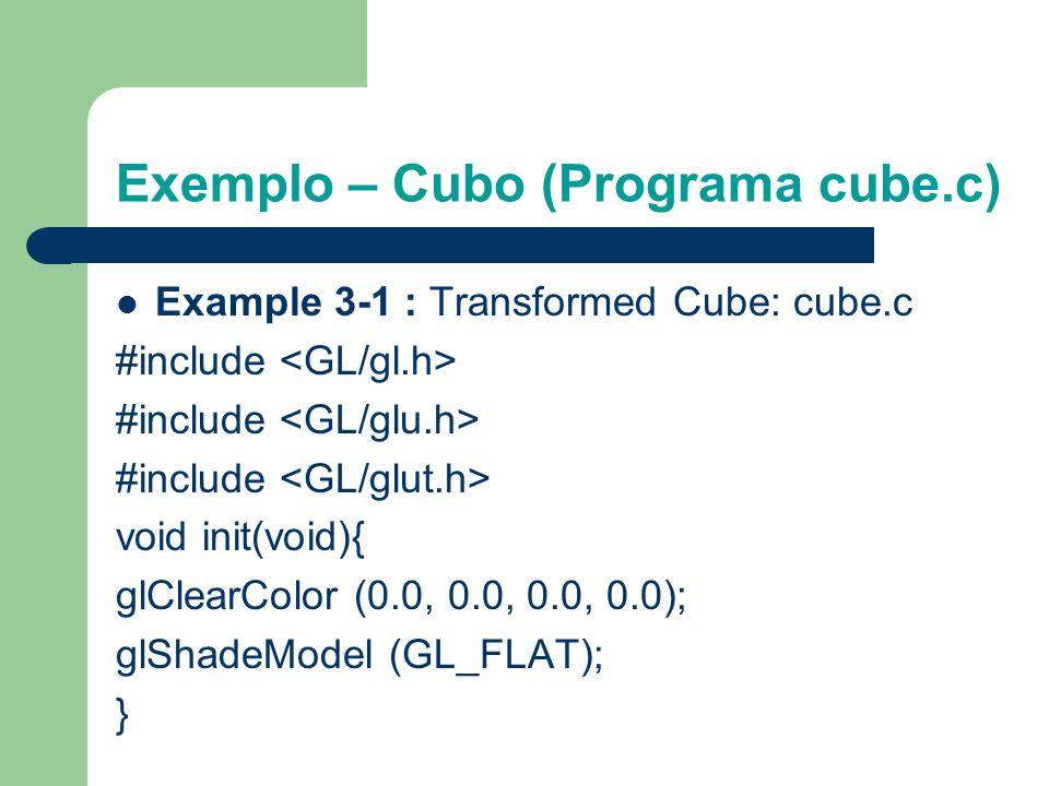 Exemplo – Cubo (Programa cube.c) Um cubo é escalado pela transformação de modelagem glScalef (1.0, 2.0, 1.0). A transformação de visualização gluLookA