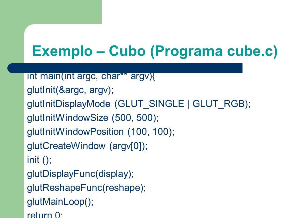 Exemplo – Cubo (Programa cube.c) void reshape (int w, int h){ glViewport (0, 0, (GLsizei) w, (GLsizei) h); glMatrixMode (GL_PROJECTION); glLoadIdentit