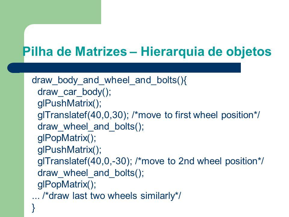 Pilha de Matrizes – Hierarquia de objetos Desenhe um automovel asumindo que existem as rotinas que desenham o corpo do carro, a roda e o parafuso. Exa