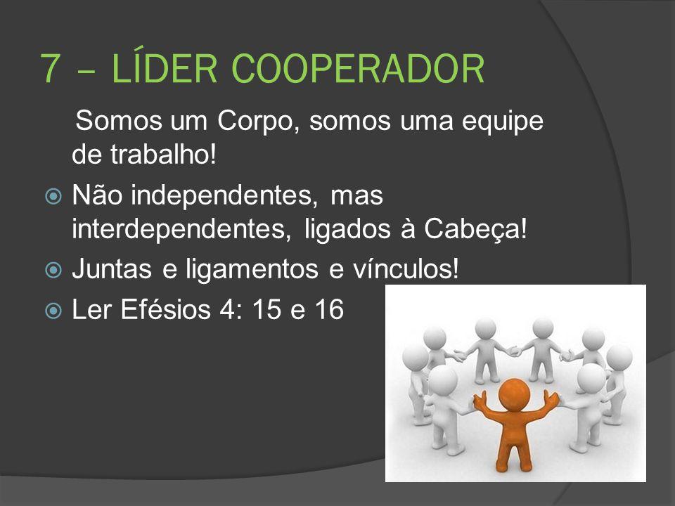 7 – LÍDER COOPERADOR Somos um Corpo, somos uma equipe de trabalho!  Não independentes, mas interdependentes, ligados à Cabeça!  Juntas e ligamentos