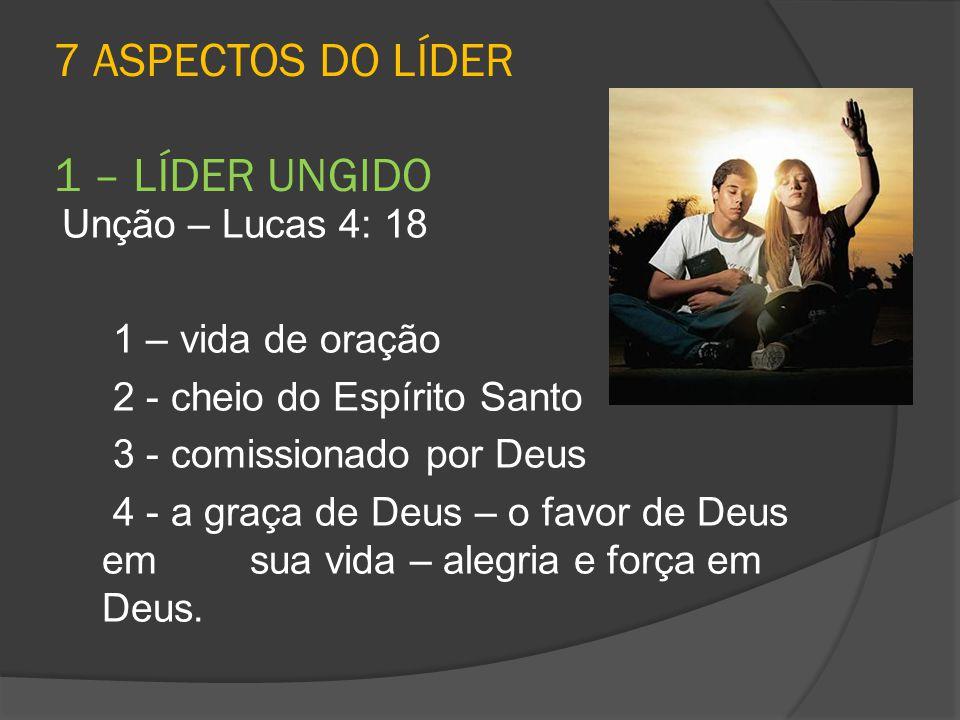 7 ASPECTOS DO LÍDER 1 – LÍDER UNGIDO Unção – Lucas 4: 18 1 – vida de oração 2 - cheio do Espírito Santo 3 - comissionado por Deus 4 - a graça de Deus