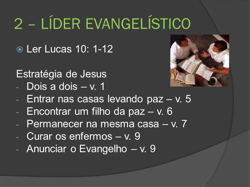 2 – LÍDER EVANGELÍSTICO  Ler Lucas 10: 1-12 Estratégia de Jesus - Dois a dois – v. 1 - Entrar nas casas levando paz – v. 5 - Encontrar um filho da pa