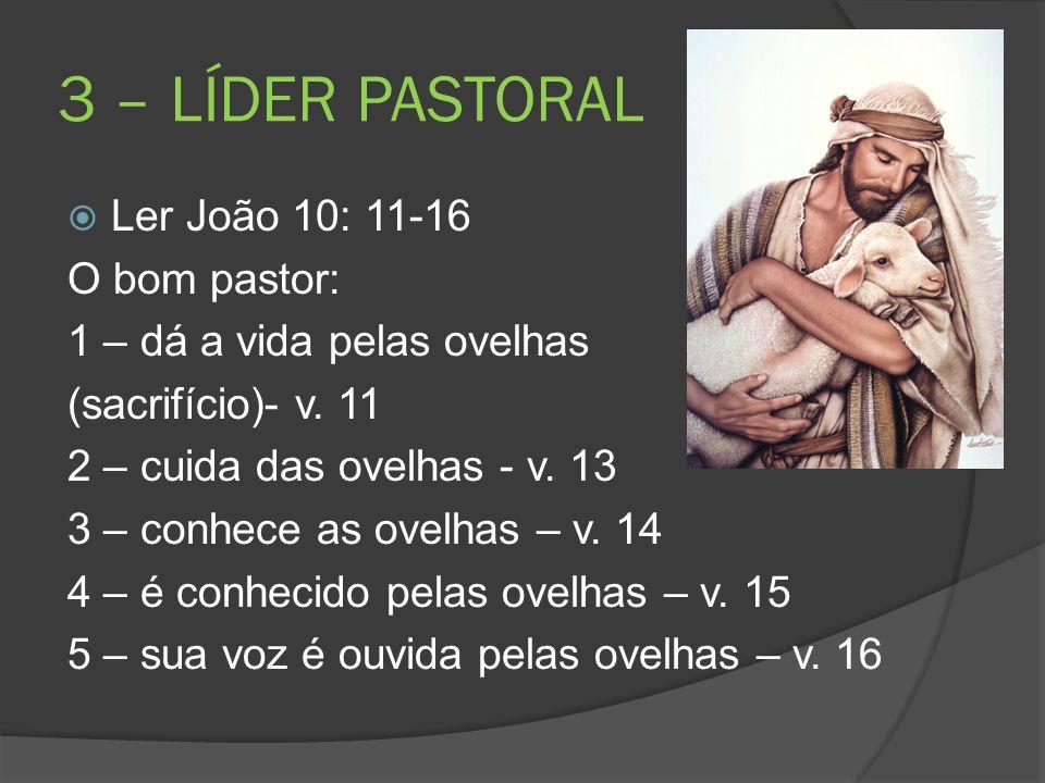 3 – LÍDER PASTORAL  Ler João 10: 11-16 O bom pastor: 1 – dá a vida pelas ovelhas (sacrifício)- v. 11 2 – cuida das ovelhas - v. 13 3 – conhece as ove