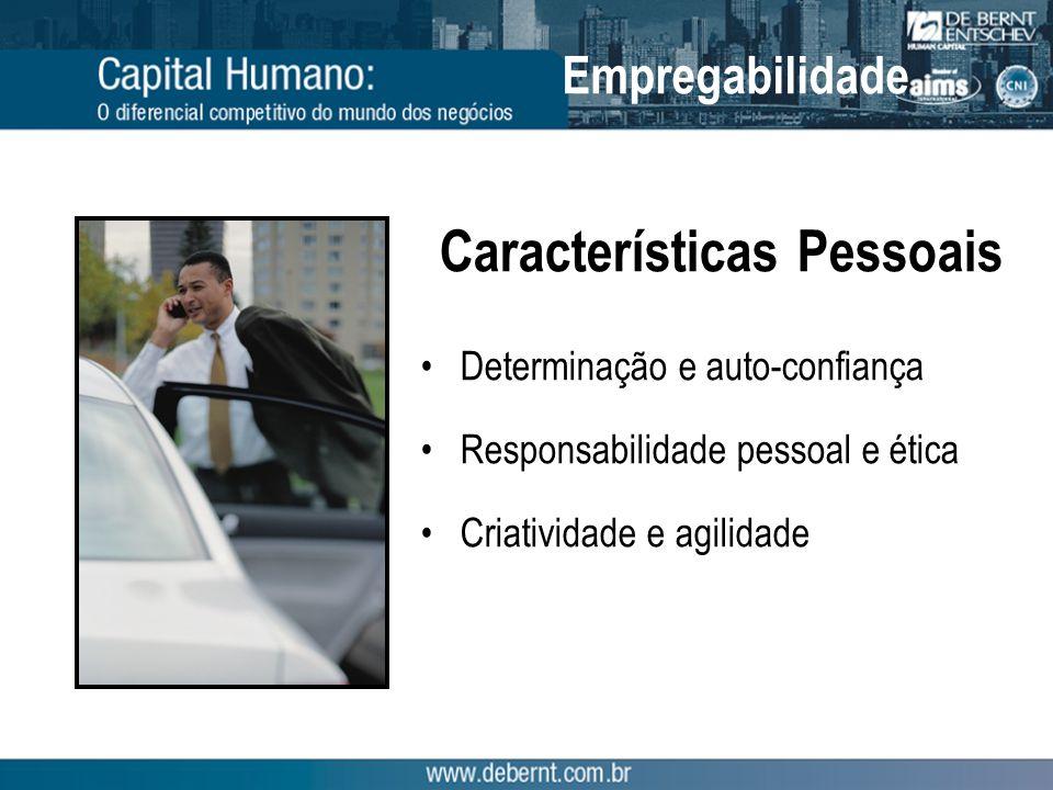 Características Pessoais Determinação e auto-confiança Responsabilidade pessoal e ética Criatividade e agilidade Empregabilidade