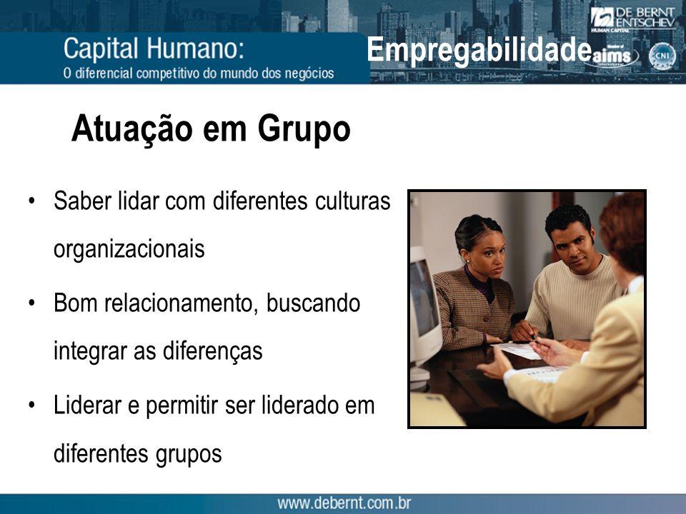Atuação em Grupo Saber lidar com diferentes culturas organizacionais Bom relacionamento, buscando integrar as diferenças Liderar e permitir ser lidera