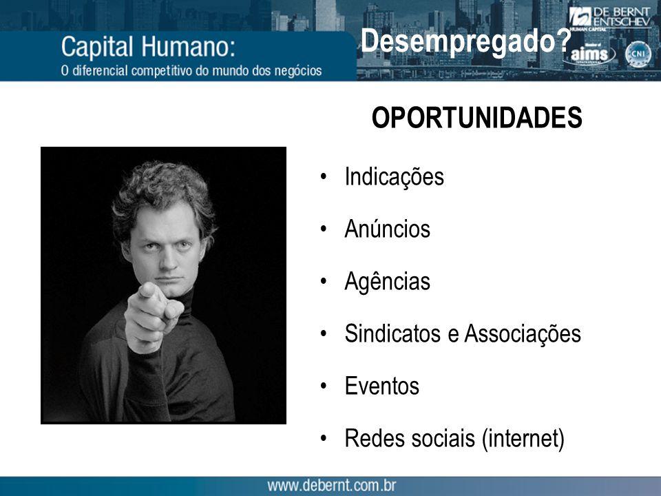 OPORTUNIDADES Indicações Anúncios Agências Sindicatos e Associações Eventos Redes sociais (internet) Desempregado?