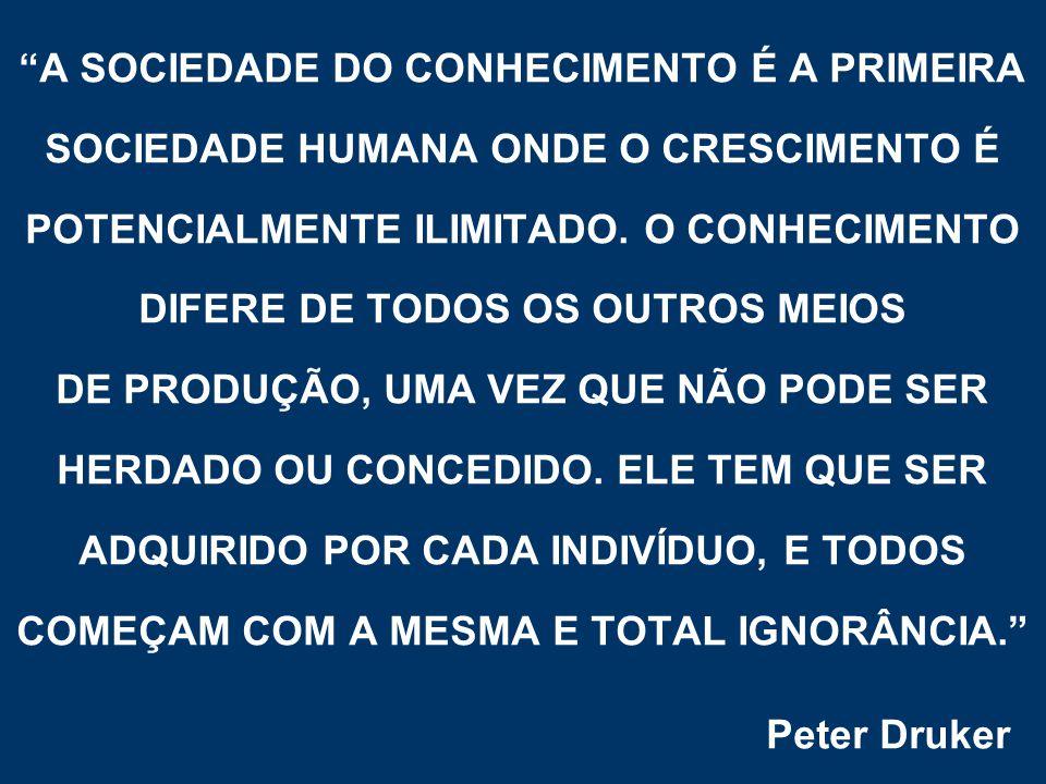 """""""A SOCIEDADE DO CONHECIMENTO É A PRIMEIRA SOCIEDADE HUMANA ONDE O CRESCIMENTO É POTENCIALMENTE ILIMITADO. O CONHECIMENTO DIFERE DE TODOS OS OUTROS MEI"""