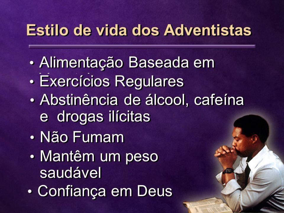 Alimentação Baseada em Vegetais Exercícios Regulares Abstinência de álcool, cafeína e drogas ilícitas Não Fumam Mantêm um peso saudável Confiança em Deus Estilo de vida dos Adventistas