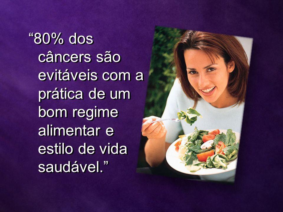 80% dos câncers são evitáveis com a prática de um bom regime alimentar e estilo de vida saudável.