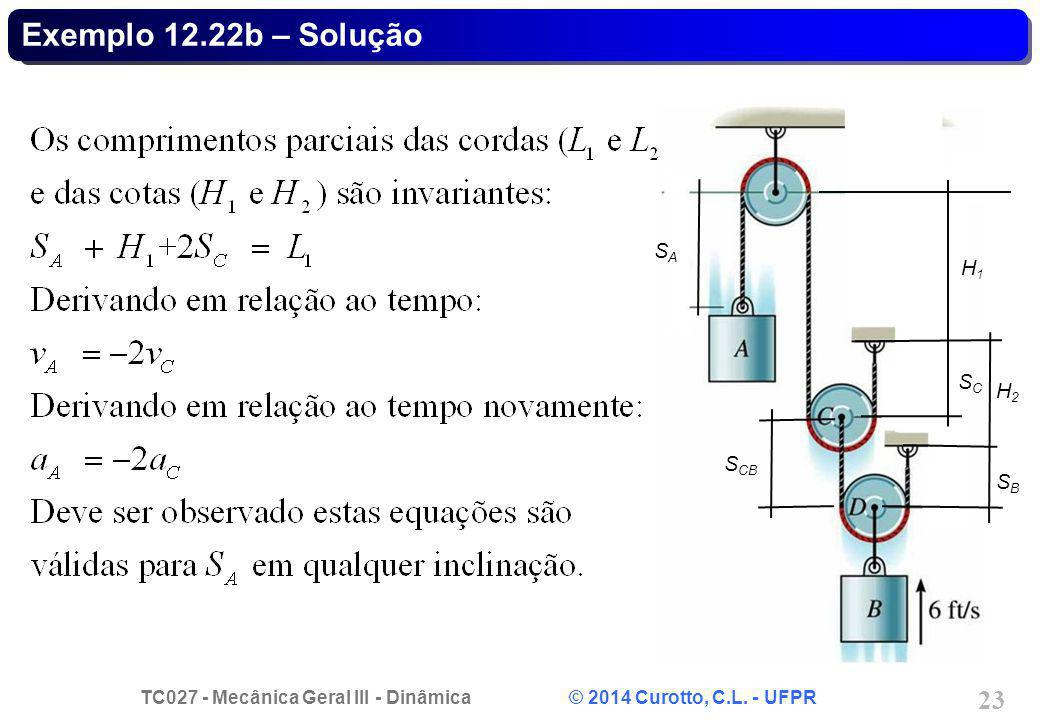 TC027 - Mecânica Geral III - Dinâmica © 2014 Curotto, C.L. - UFPR 23 Exemplo 12.22b – Solução SASA SCSC SBSB S CB H1H1 H2H2