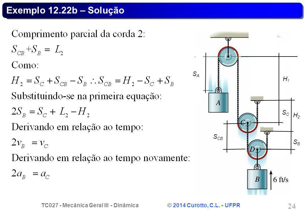 TC027 - Mecânica Geral III - Dinâmica © 2014 Curotto, C.L. - UFPR 24 Exemplo 12.22b – Solução SASA SCSC SBSB S CB H1H1 H2H2