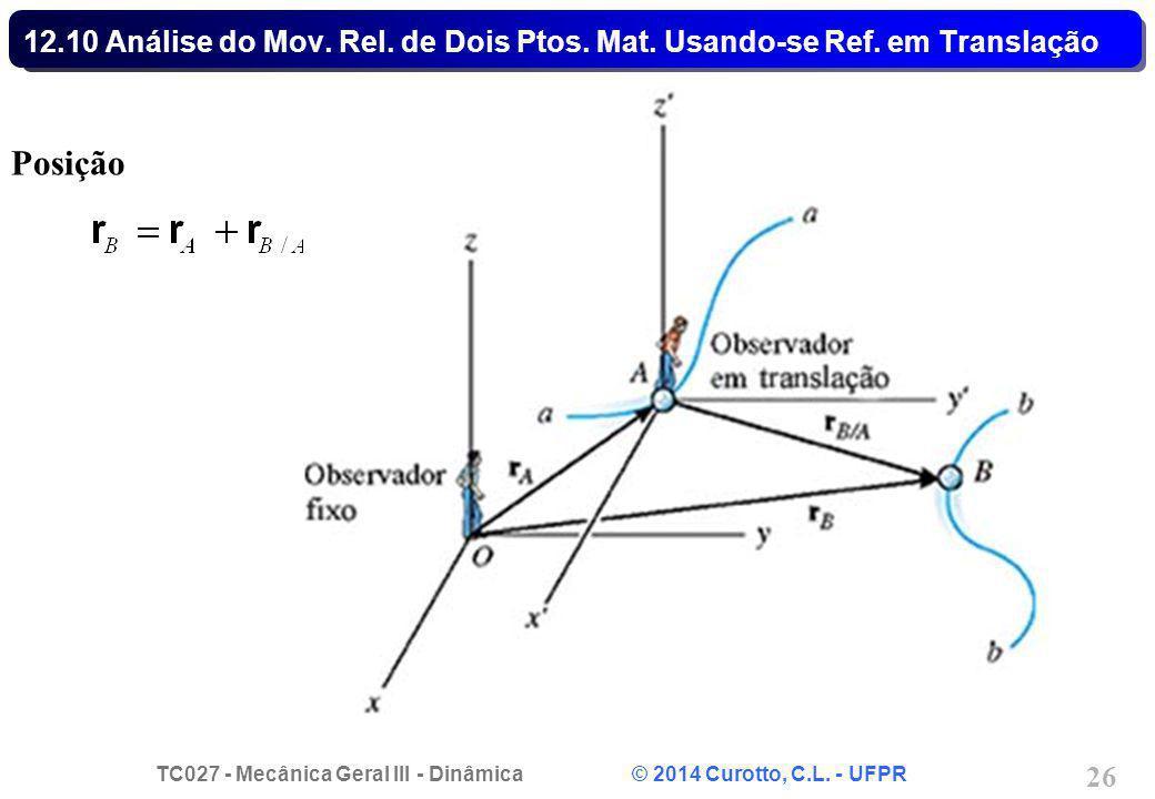 TC027 - Mecânica Geral III - Dinâmica © 2014 Curotto, C.L. - UFPR 26 12.10 Análise do Mov. Rel. de Dois Ptos. Mat. Usando-se Ref. em Translação Posiçã