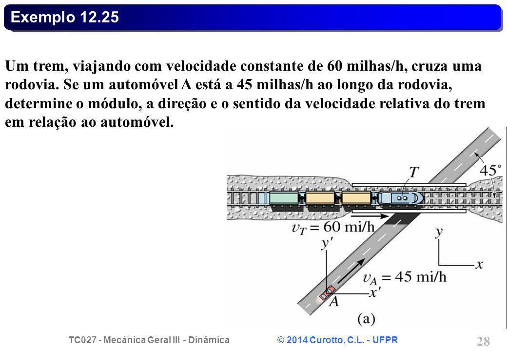 TC027 - Mecânica Geral III - Dinâmica © 2014 Curotto, C.L. - UFPR 28 Exemplo 12.25 Um trem, viajando com velocidade constante de 60 milhas/h, cruza um