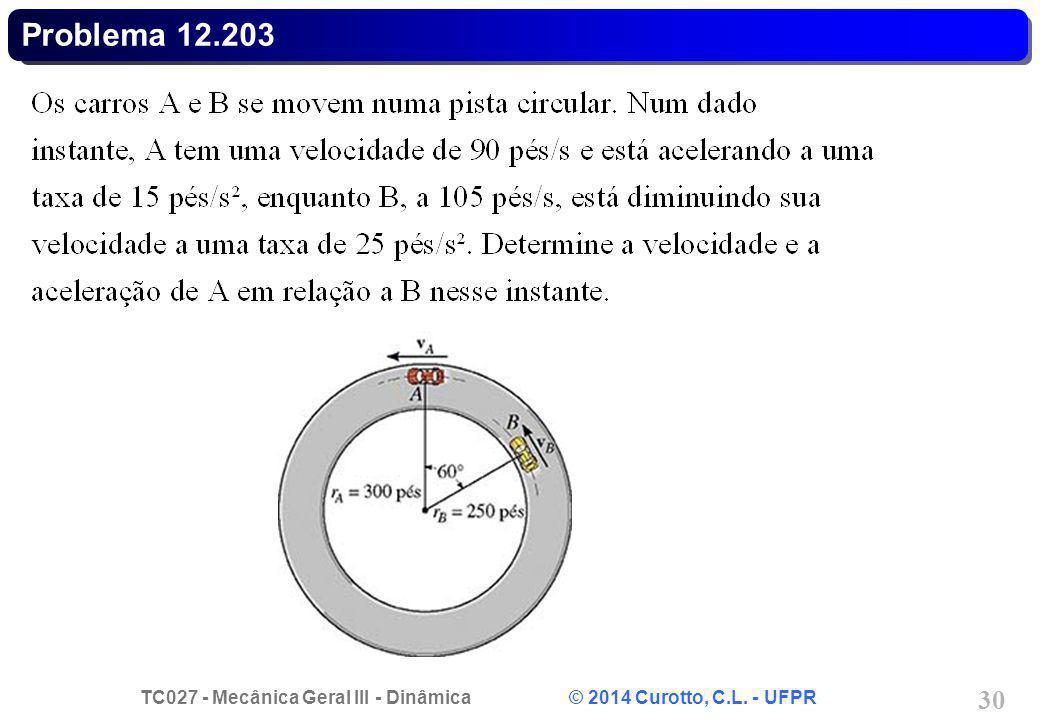 TC027 - Mecânica Geral III - Dinâmica © 2014 Curotto, C.L. - UFPR 30 Problema 12.203