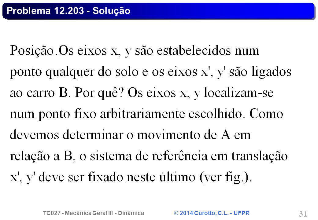 TC027 - Mecânica Geral III - Dinâmica © 2014 Curotto, C.L. - UFPR 31 Problema 12.203 - Solução