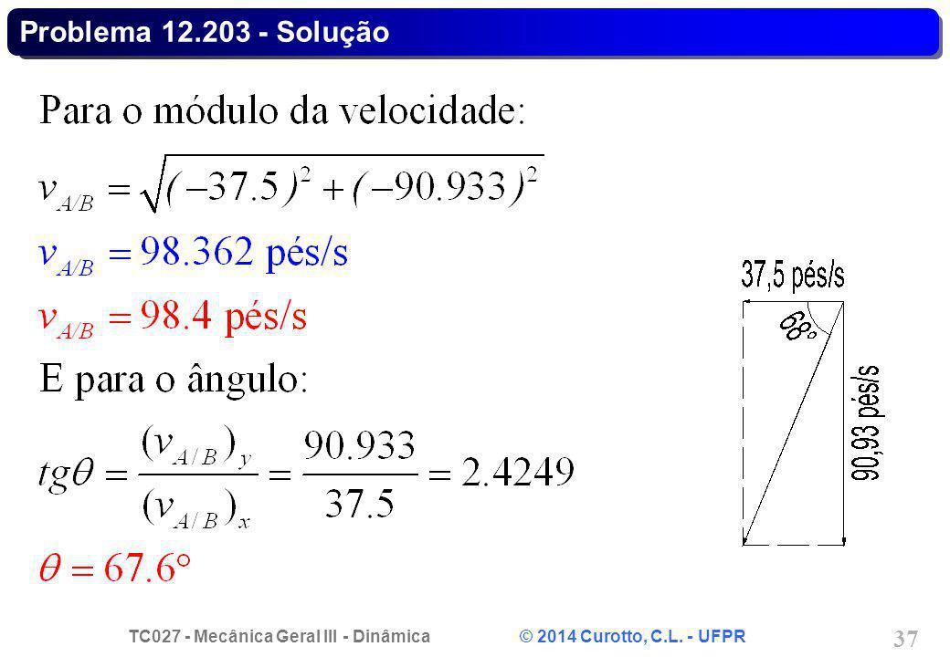 TC027 - Mecânica Geral III - Dinâmica © 2014 Curotto, C.L. - UFPR 37 Problema 12.203 - Solução