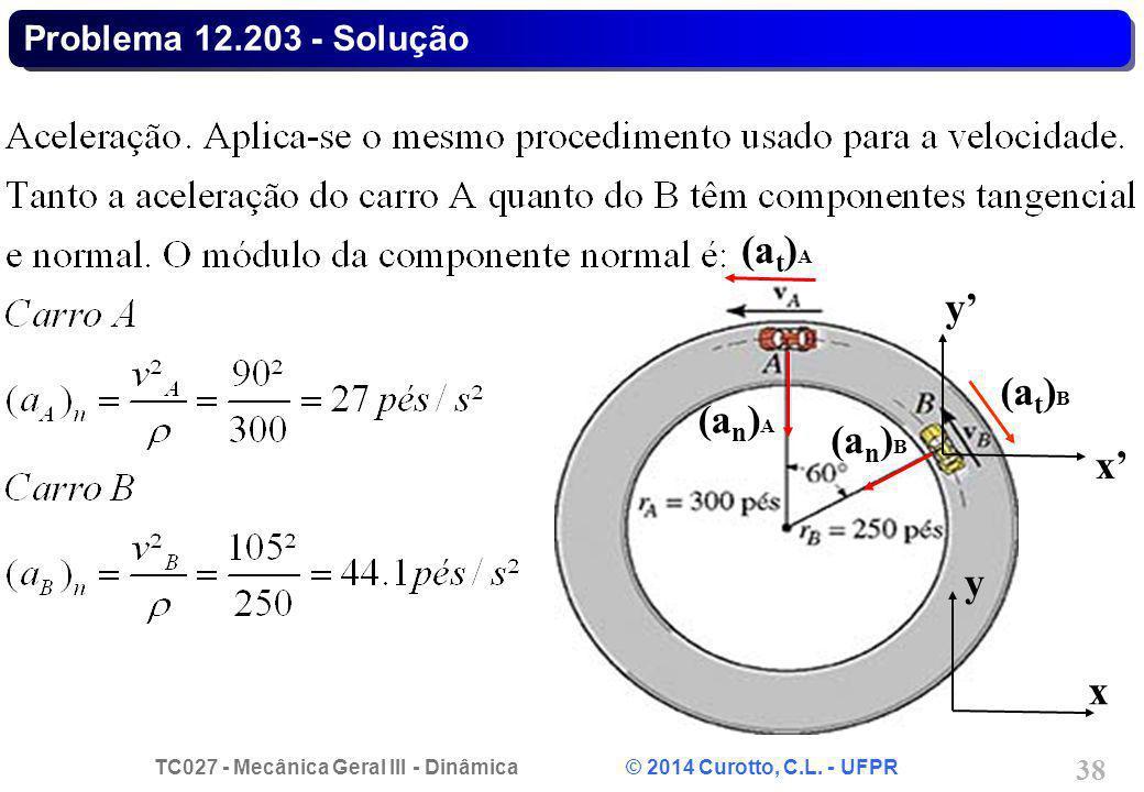 TC027 - Mecânica Geral III - Dinâmica © 2014 Curotto, C.L. - UFPR 38 Problema 12.203 - Solução (a t ) A (a n ) A (a n ) B x y x' y' (a t ) B