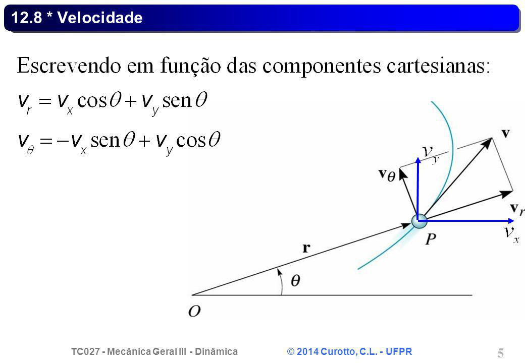 TC027 - Mecânica Geral III - Dinâmica © 2014 Curotto, C.L. - UFPR 5 12.8 * Velocidade