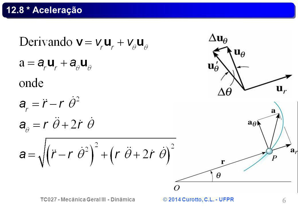 TC027 - Mecânica Geral III - Dinâmica © 2014 Curotto, C.L. - UFPR 7 Exemplo 12.17