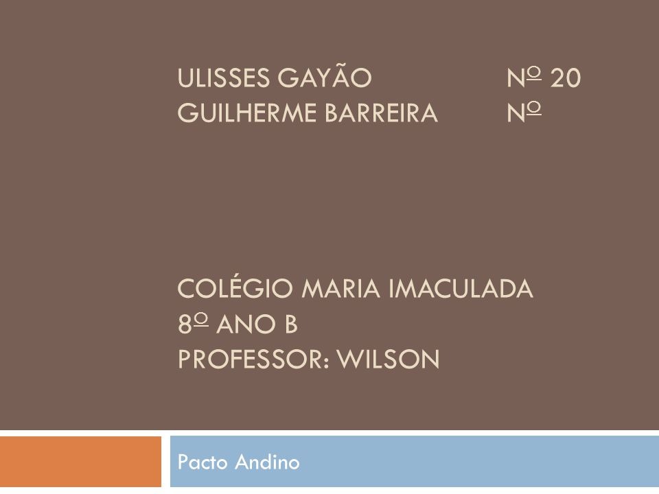 ULISSES GAYÃON O 20 GUILHERME BARREIRAN O COLÉGIO MARIA IMACULADA 8 O ANO B PROFESSOR: WILSON Pacto Andino