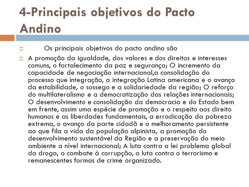 4-Principais objetivos do Pacto Andino  Os principais objetivos do pacto andino são  A promoção da igualdade, dos valores e dos direitos e interesse