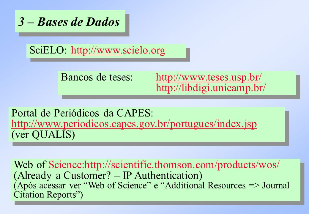 3 – Bases de Dados SciELO: http://www.scielo.orghttp://www. SciELO: http://www.scielo.orghttp://www. Portal de Periódicos da CAPES: http://www.periodi