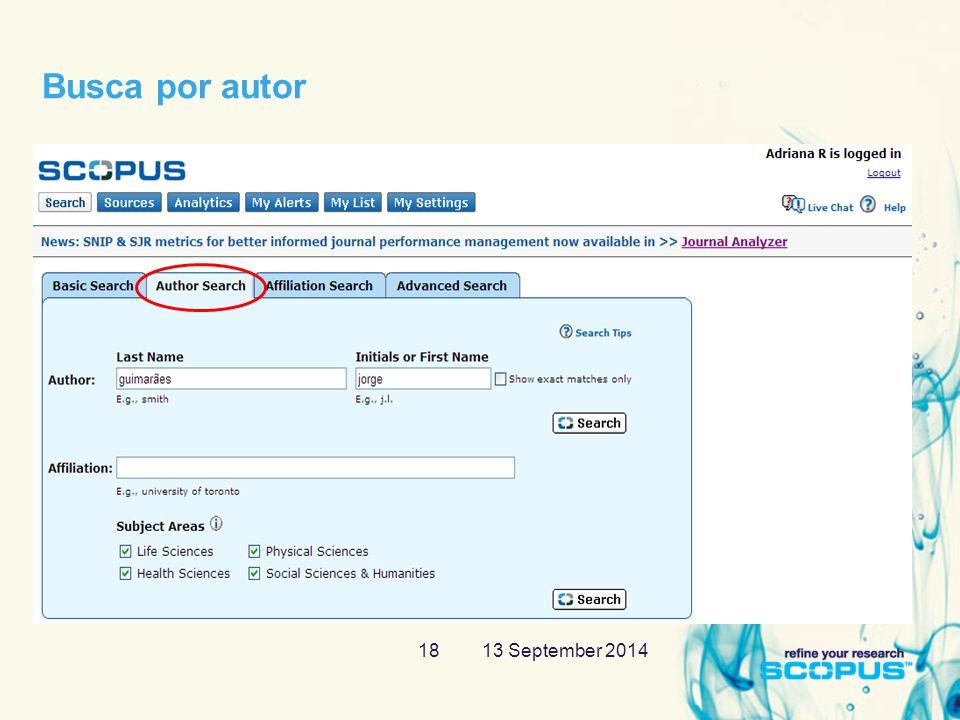 13 September 201418 Busca por autor
