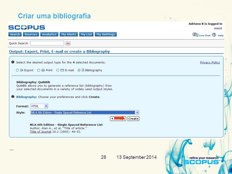 13 September 201426 Criar uma bibliografia