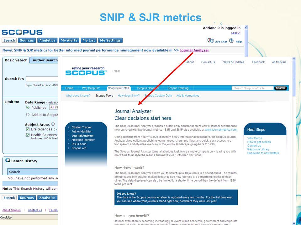 13 September 201431 SNIP & SJR metrics