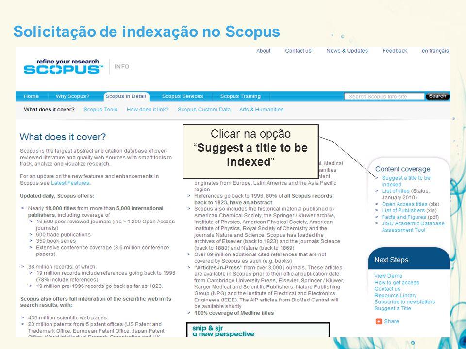Solicitação de indexação no Scopus Clicar na opção Suggest a title to be indexed
