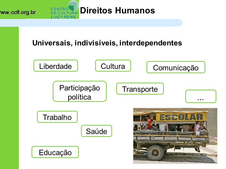 www.cclf.org.br Direitos Humanos Saúde Universais, indivisíveis, interdependentes Participação política Comunicação Liberdade Trabalho Transporte Educação...