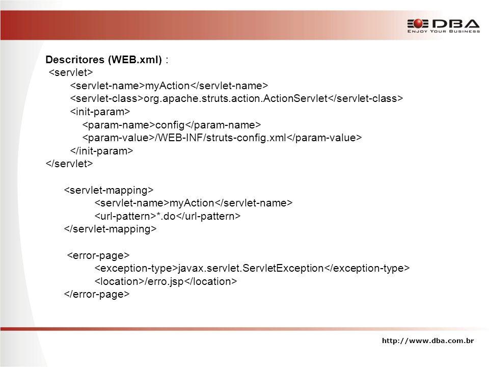 Descritores (WEB.xml) : myAction org.apache.struts.action.ActionServlet config /WEB-INF/struts-config.xml myAction *.do javax.servlet.ServletException