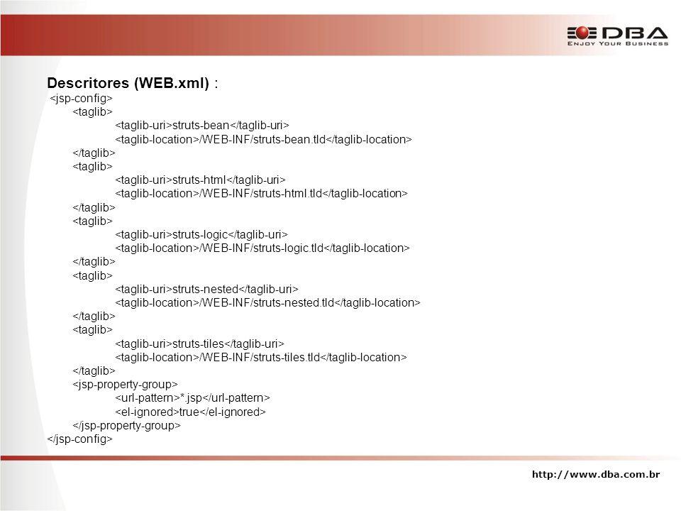 Descritores (WEB.xml) : struts-bean /WEB-INF/struts-bean.tld struts-html /WEB-INF/struts-html.tld struts-logic /WEB-INF/struts-logic.tld struts-nested