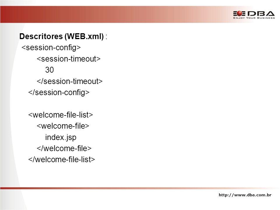 Descritores (WEB.xml) : 30 index.jsp http://www.dba.com.br