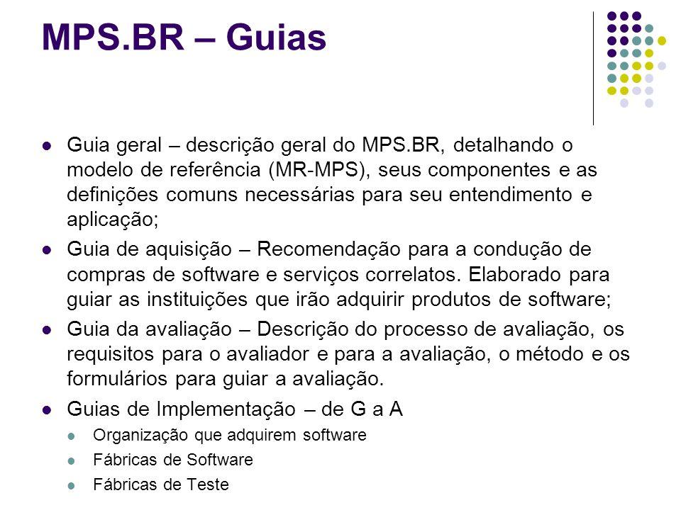 MPS.BR – Guias Guia geral – descrição geral do MPS.BR, detalhando o modelo de referência (MR-MPS), seus componentes e as definições comuns necessárias