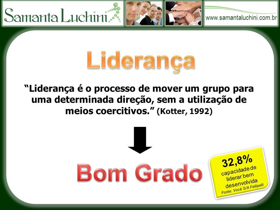 www.samantaluchini.com.br Liderança é o processo de mover um grupo para uma determinada direção, sem a utilização de meios coercitivos. (Kotter, 1992) 32,8% capacidade de liderar bem desenvolvida Fonte: Você S/A Fellipelli
