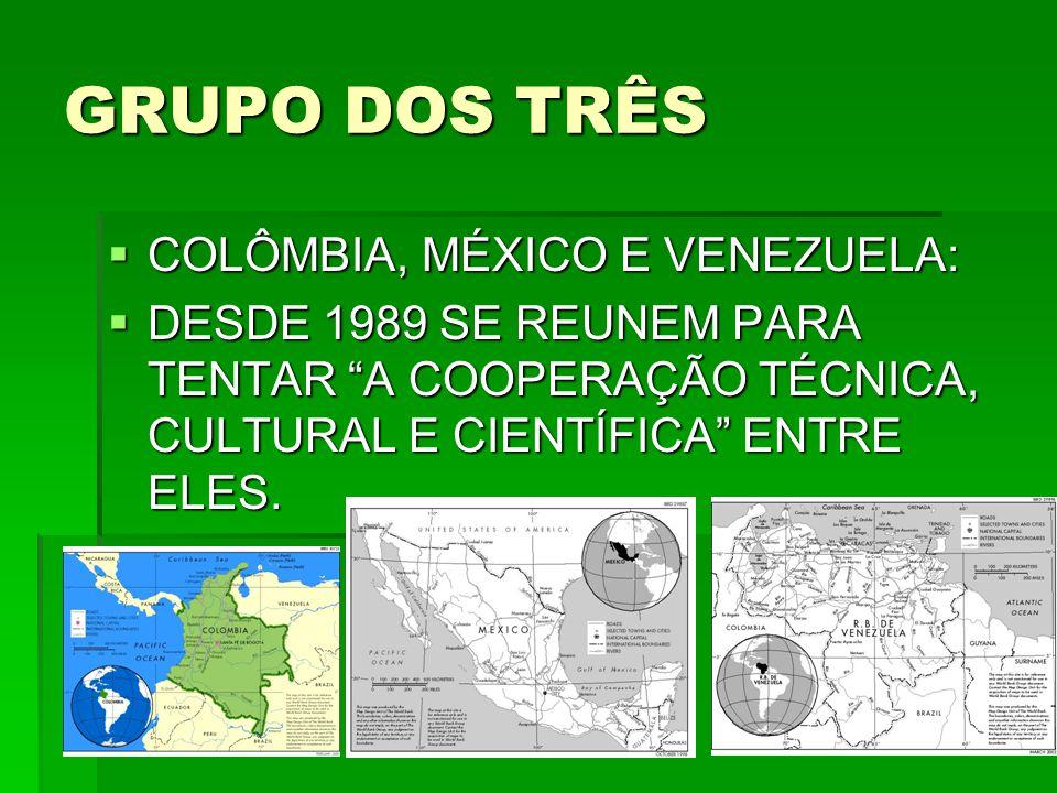 GRUPO DOS TRÊS  COLÔMBIA, MÉXICO E VENEZUELA:  DESDE 1989 SE REUNEM PARA TENTAR A COOPERAÇÃO TÉCNICA, CULTURAL E CIENTÍFICA ENTRE ELES.