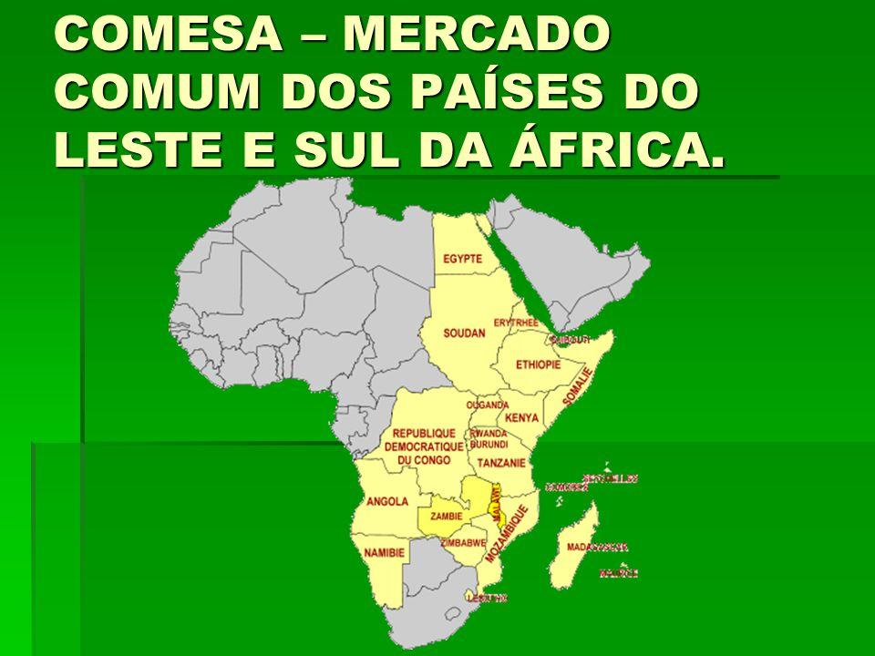 COMESA – MERCADO COMUM DOS PAÍSES DO LESTE E SUL DA ÁFRICA.